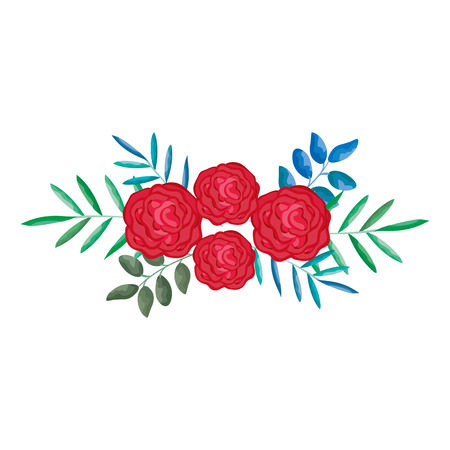 roses and leafs decorative icon vector illustration design