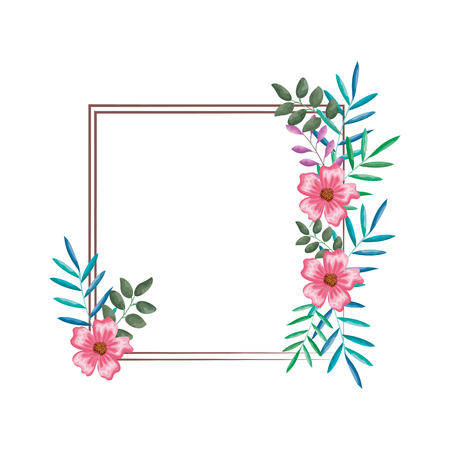 flowers and leafs decorative elegant frame vector illustration design  イラスト・ベクター素材