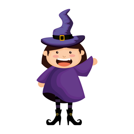 girl dressed up as a halloween witch vector illustration design Stock Illustratie