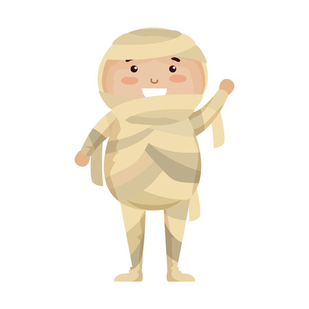 boy dressed up as a halloween mummy vector illustration design  イラスト・ベクター素材
