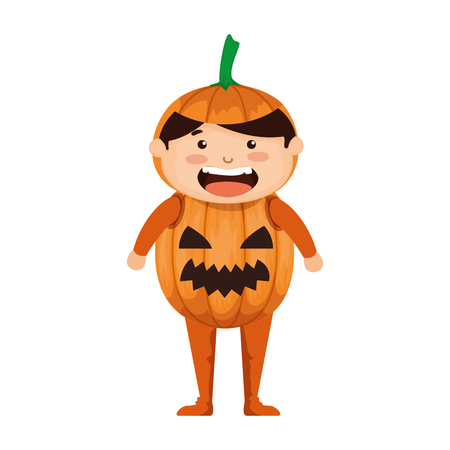 boy dressed up as a halloween pumpkin vector illustration design Stock Illustratie