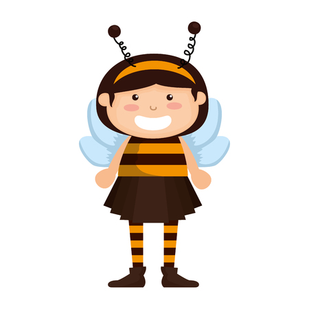girl dressed up as a halloween bee vector illustration design Stock Illustratie