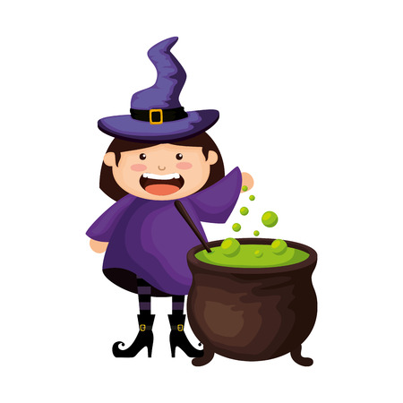 girl dressed up as a halloween witch with cauldron vector illustration