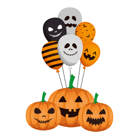 happy halloween pumpkins with balloons helium vector illustration design