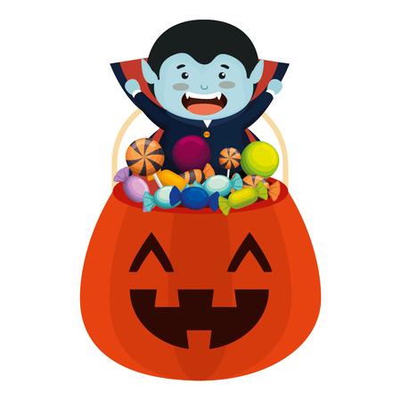 jongen verkleed als een dracula van halloween met snoepjes vectorillustratie