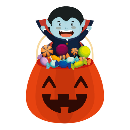 boy dressed up as a halloween dracula with candies vector illustration
