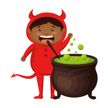 boy dressed up as a halloween devil with cauldron vector illustration  イラスト・ベクター素材