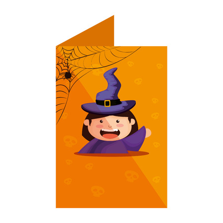 card with girl dressed up as a halloween witch vector illustration design Illustration