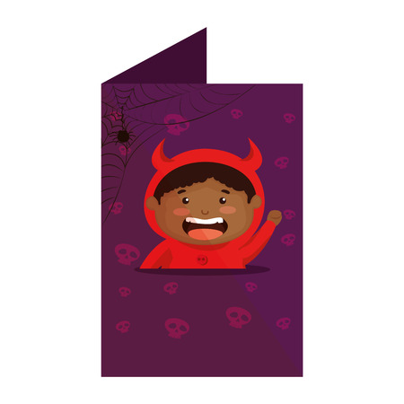 card with boy dressed up as a halloween devil vector illustration design