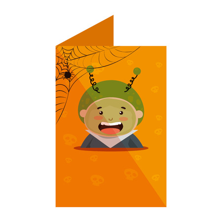card with boy dressed up as a halloween martian vector illustration design