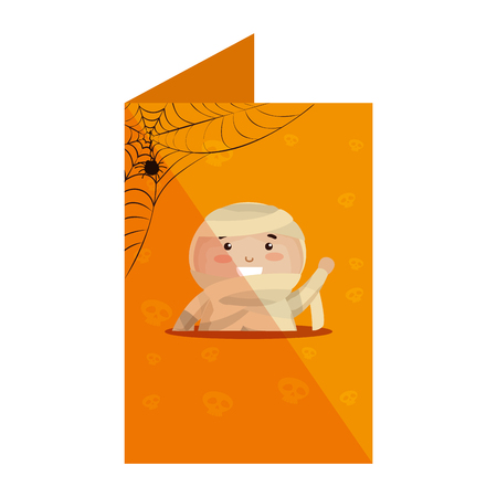 card with boy dressed up as a halloween mummy vector illustration