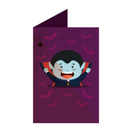 card with boy dressed up as a halloween dracula vector illustration design