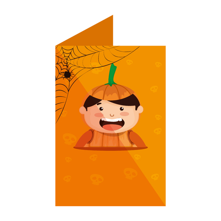 card with boy dressed up as a halloween pumpkin vector illustration