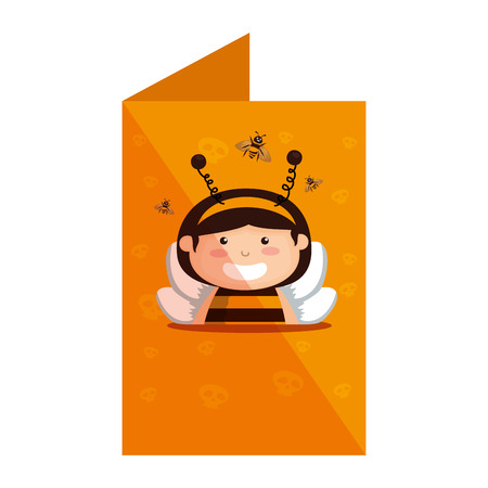 card with girl dressed up as a halloween bee vector illustration design