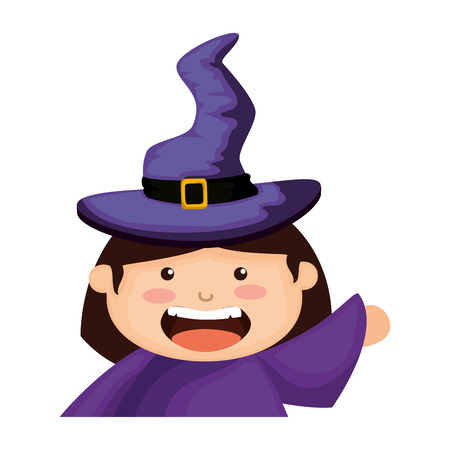 girl dressed up as a halloween witch vector illustration design  イラスト・ベクター素材