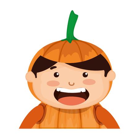 boy dressed up as a halloween pumpkin vector illustration design Illustration