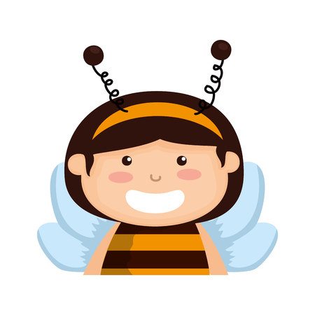 girl dressed up as a halloween bee vector illustration design Illustration