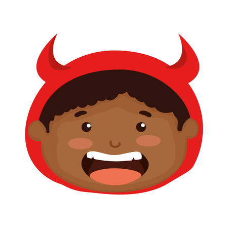 head boy dressed up as a halloween devil vector illustration design