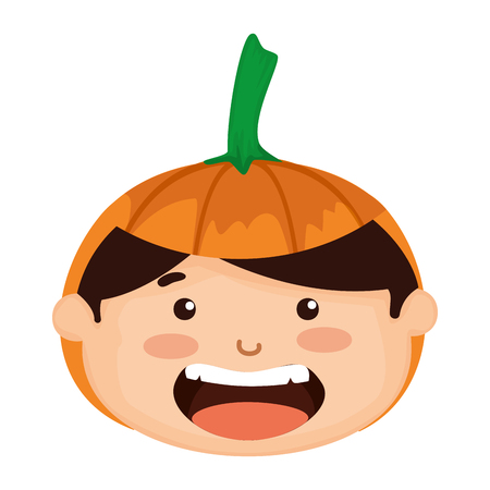 head boy dressed up as a halloween pumpkin vector illustration design