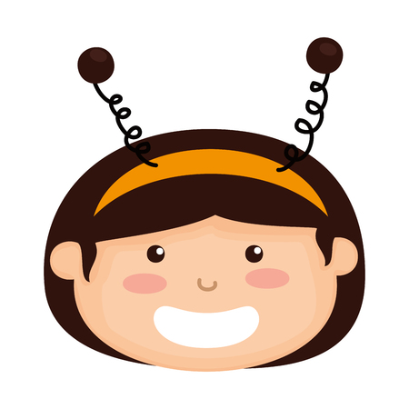 head girl dressed up as a halloween bee vector illustration design  イラスト・ベクター素材