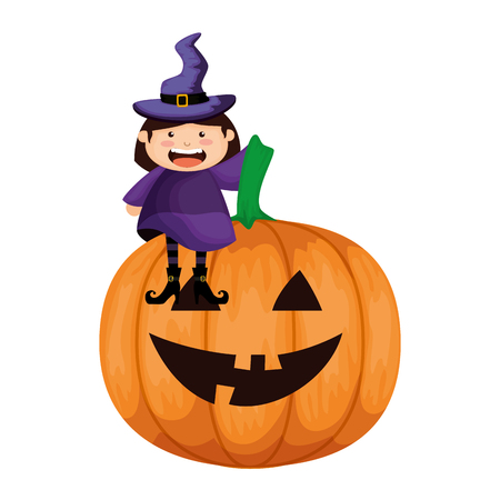 girl dressed up as a halloween witch with pumpkin vector illustration