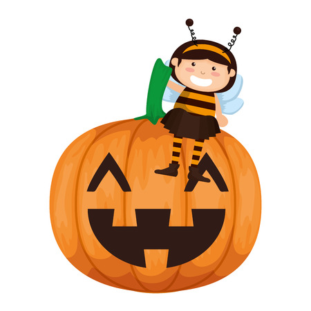 girl dressed up as a halloween bee with pumpkin vector illustration design