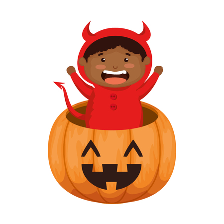 boy dressed up as a halloween devil in pumpkin vector illustration design