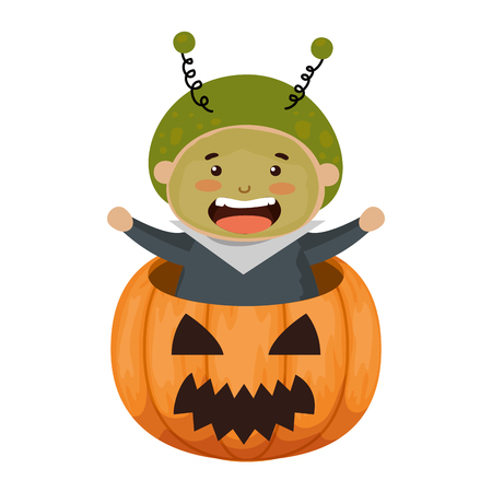 boy dressed up as a halloween martian in pumpkin vector illustration