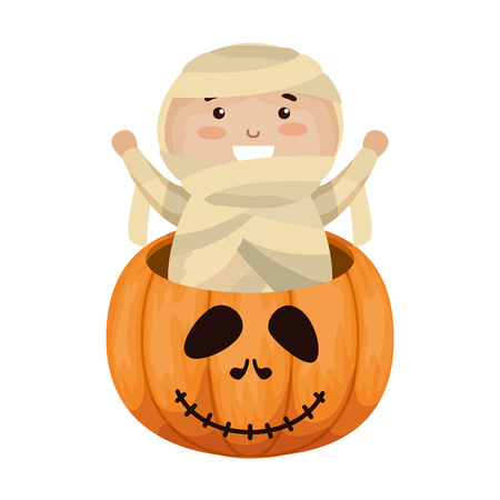 boy dressed up as a halloween mummy in pumpkin vector illustration Illustration