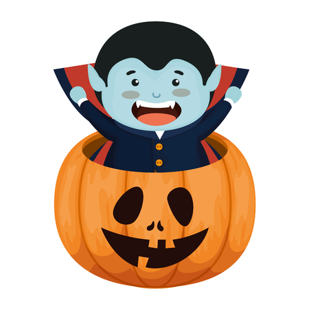boy dressed up as a halloween dracula in pumpkin vector illustration Illustration