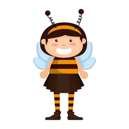 girl dressed up as a halloween bee vector illustration design Illustration