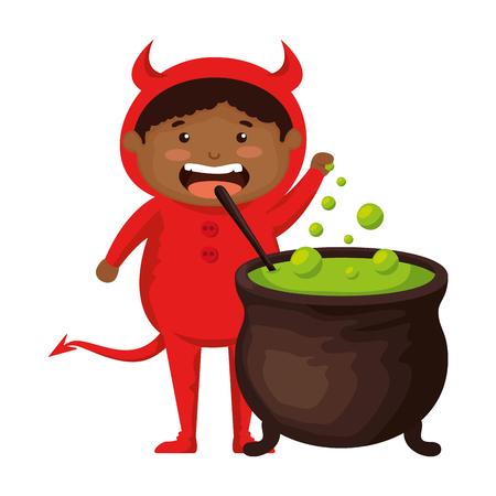 boy dressed up as a halloween devil with cauldron vector illustration  イラスト・ベクター素材