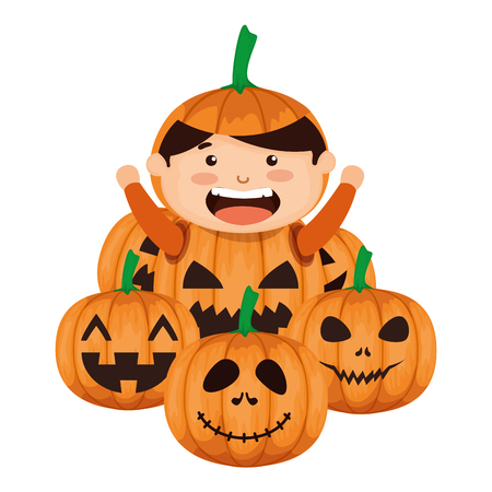 boy dressed up as a halloween pumpkin vector illustration design Illustration
