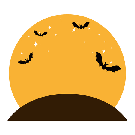 bats flying halloween scene vector illustration design