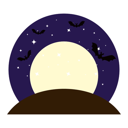 bats flying on night halloween scene vector illustration design Illustration