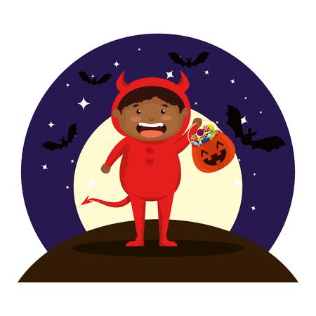 boy dressed up as a halloween devil on night vector illustration design