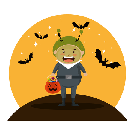 boy dressed up as a halloween martian with bats flying vector illustration Illustration