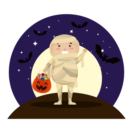 boy dressed up as a halloween mummy on night vector illustration