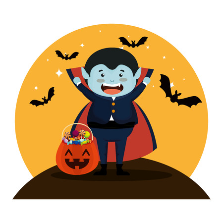 boy dressed up as a halloween dracula with bats flying vector illustration Archivio Fotografico - 109687078