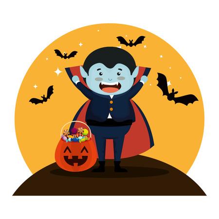Junge verkleidet als Halloween-Dracula mit Fledermäusen, die Vektorillustration fliegen