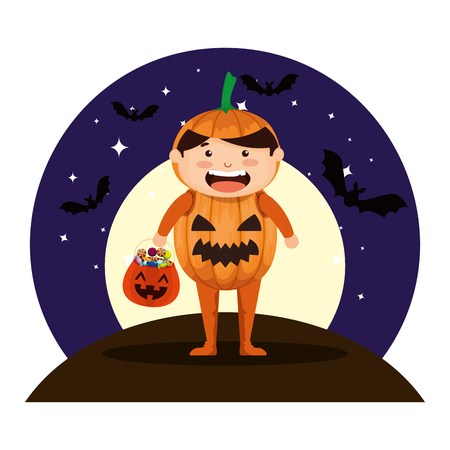 boy dressed up as a halloween pumpkin with bats flying vector illustration