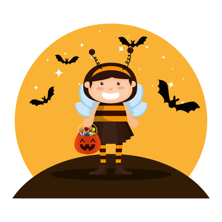 girl dressed up as a halloween bee with bats flying vector illustration