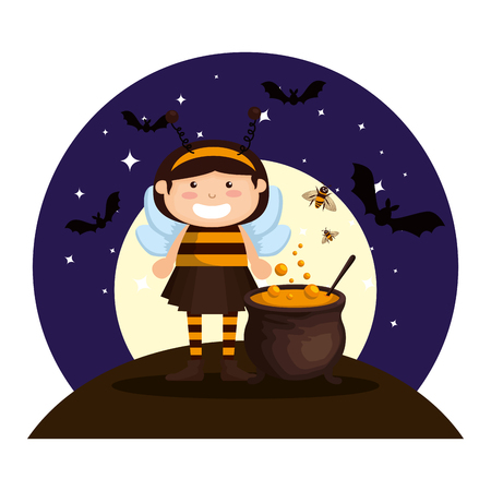 girl dressed up as a halloween bee on night vector illustration design