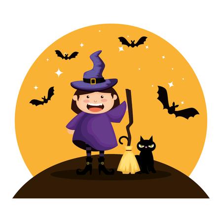 niña vestida como una bruja de halloween con murciélagos volando ilustración vectorial