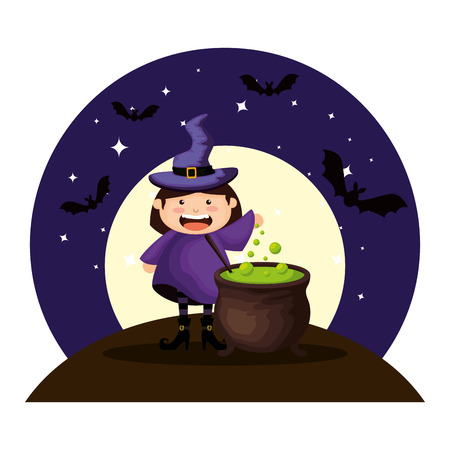 girl dressed up as a halloween witch on night vector illustration design