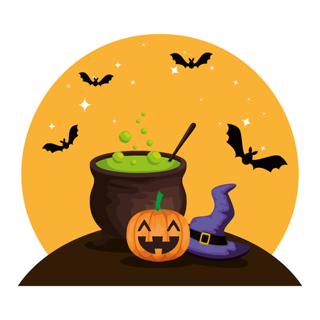 happy halloween cauldron with witch hat vector illustration design