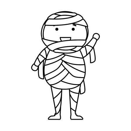 boy dressed up as a halloween mummy vector illustration design Stock Illustratie