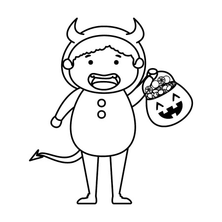 boy dressed up as a halloween devil with candies vector illustration