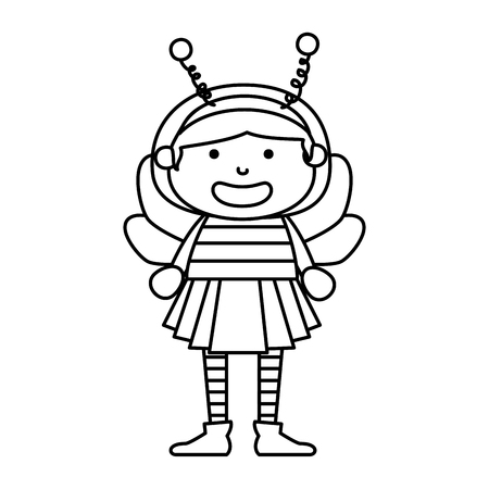 girl dressed up as a halloween bee vector illustration design  イラスト・ベクター素材