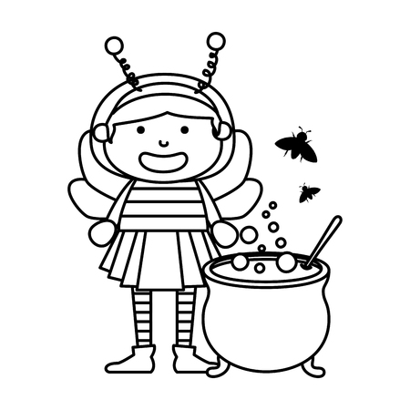girl dressed up as a halloween bee with cauldron vector illustration  イラスト・ベクター素材